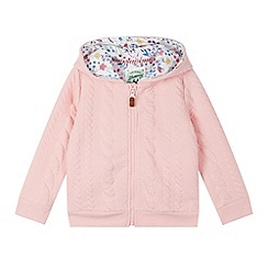 Mantaray - Girl's pink cable textured sweat hoodie