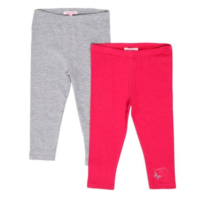 Girls Pack Of Two Pink And Grey Leggings