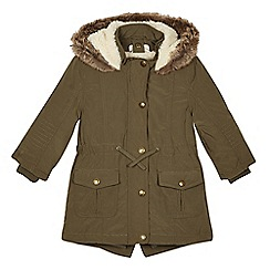Mantaray - Girls' khaki 3-in-1 parka with gilet