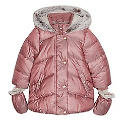 Mantaray - Girl's pink ditsy floral padded parka with mittens