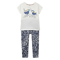 Mantaray - Girl's white sequinned bird t-shirt and leggings set