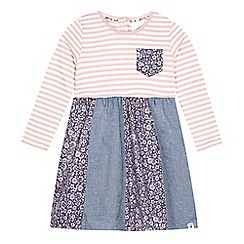 Mantaray - Girl's pink striped patchwork dress