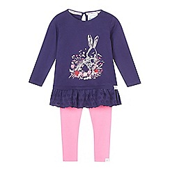 Mantaray - Girl's navy bunny top and leggings set