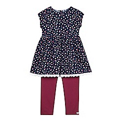 Mantaray - Girls' navy floral dress and leggings set