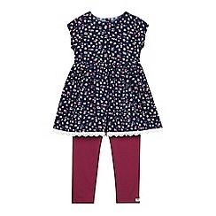 Mantaray - Girls' navy floral dress and leggings set
