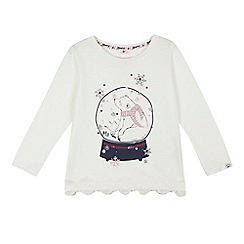 Mantaray - Girls' cream sparkle polar bear snow globe top