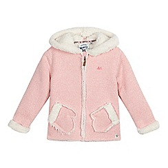 Mantaray - Girls' light pink hooded novelty sweater