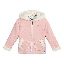 Mantaray - Girls' light pink hooded novelty sweater
