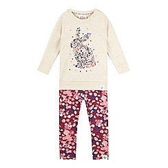 Mantaray - Girls' cream bunny top and leggings set