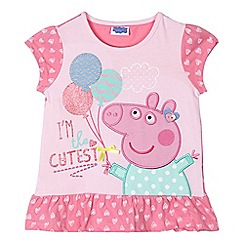 Peppa Pig - Girl's pink 'Peppa Pig' balloon print top