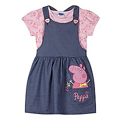 Peppa Pig - Girl's navy 'Peppa Pig' t-shirt and pinny set