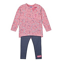 Peppa Pig - Girl's pink 'Peppa Pig' top and trousers set