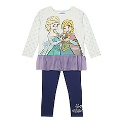 Disney Frozen - Girl's white 'Frozen' tunic and leggings set