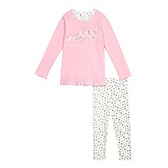 Esprit - Girls' pink musical notes pyjama top and bottoms set