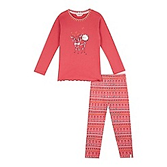 Esprit - Girls' dark pink reindeer pyjama top and Nordic-inspired bottoms set