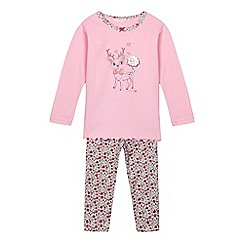 Esprit - Girls' pink reindeer pyjama top and floral bottoms set