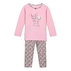 Esprit - Girls' pink reindeer pyjama top and floral bottoms set