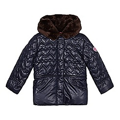 Esprit - Girl's navy quilted heart waterproof coat