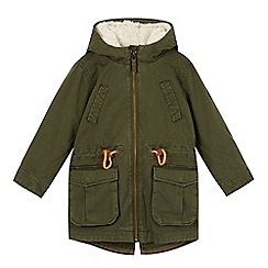 Esprit - Girl's khaki 2-in-1 fleece lined parka