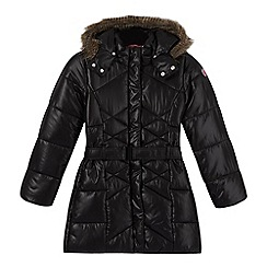 Esprit - Girl's black belted long padded jacket