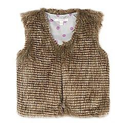 Esprit - Girl's brown faux fur gilet