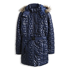 Esprit - Girl's quilted star belted longline jacket