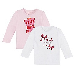 Esprit - Set of two babies white butterfly and pink teddy print tops