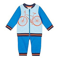 Esprit - Babies bright blue bicycle sweat romper suit