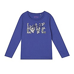 Esprit - Girl's blue 'Love' sequin t-shirt