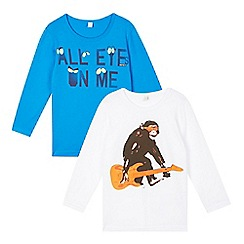 Esprit - Pack of two boy's white chimp and blue 'Eyes on me' printed tops