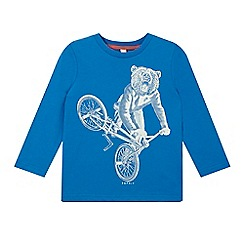 Esprit - Boy's bright blue bear bicycle long sleeved top