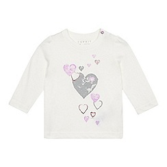 Esprit - Baby girls' off white heart print top
