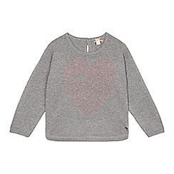 Esprit - Girl's grey glittery heart jumper