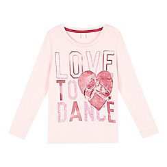 Esprit - Girl's light pink 'Love to Dance' long sleeved top