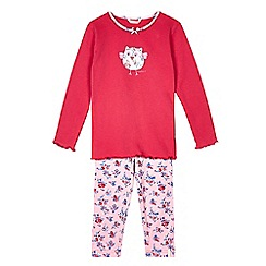 Esprit - Girls' pink floral and owl print pyjama set