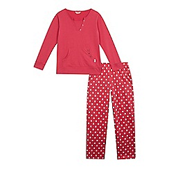 Esprit - Girls' pink notch neck pyjama top and polka dot bottoms set