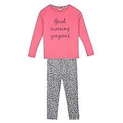 Esprit - Girls' pink and leopard print 'Good Morning Gorgeous' pyjama set