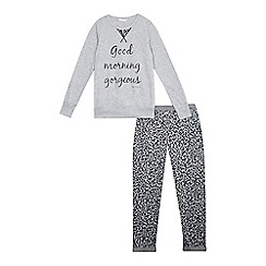 Esprit - Girls' grey 'Good Morning Gorgeous' pyjama top and leopard print bottoms set