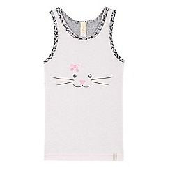 Esprit - Girls' pink cat leopard print back pyjama vest top