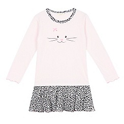 Esprit - Girls' pink leopard print cat night dress