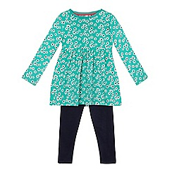 bluezoo - Girls' green ditsy tunic and navy leggings set