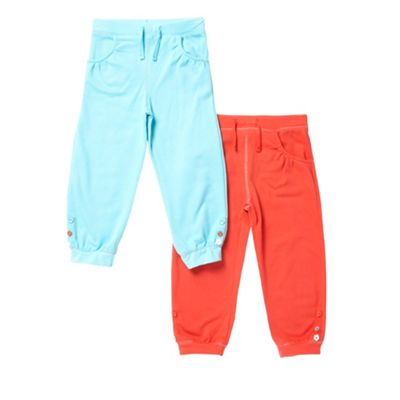 Girls Pack Of Two Peach And Turquoise Jogging Bottoms