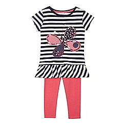 bluezoo - Girls' navy striped butterfly top and pink leggings set