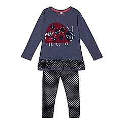 bluezoo - Girls' blue sequinned top and polka dot leggings set