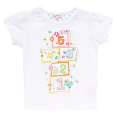 Girls white embroidered hop-scotch t-shirt