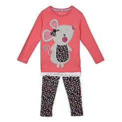 bluezoo - Girls' pink mouse applique top and leggings set