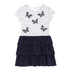 bluezoo - Girls' white sequinned butterfly rara dress