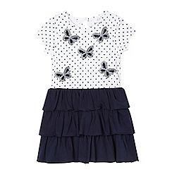 bluezoo - Girls' white sequinned butterfly rara dress