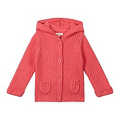 bluezoo - Girls' pink chunky knit hooded cardigan