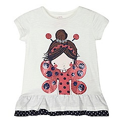 bluezoo - Girls' cream butterfly girl sequinned top